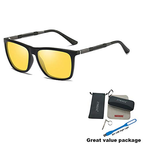 ZTMXEK Unisex Polarized Aluminum Sunglasses Vintage UV Protection Sunglasses for Driving Outdoor Sports (Black frame yellow lens)