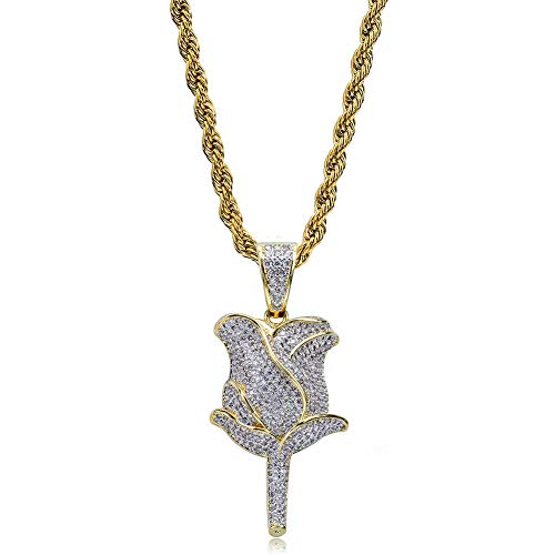 TOPGRILLZ Iced Out Lab Simulated Diamond Bling Bubble Rose Pendant Necklace for Women Men Fashion Gifts (Gold Rose)