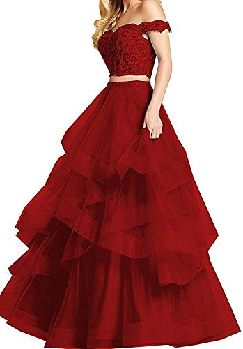 PearlBridal Women's Off Shoulder Lace Two Pieces Prom Dresses Appliques Long Evening Ball Gowns Drak Red Size 8 ()