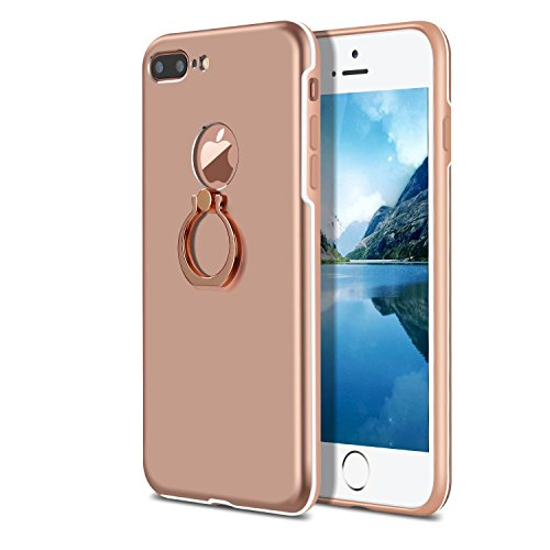 Xeber iPhone 7 Plus Case Ultra Light Slim Fit Anti Scratch Fingerprint Premium Protective Matt Surface with Ring brackets Excellent Grip for iPhone 7 Plus (iPhone 7 Plus, Rose Gold) (Finger Full Shield)