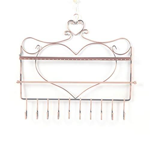 Heart Shape Wall Hanging Earrings Organizer Rack Earrings Ear Studs Display Stand with Hooks Necklaces Bracelets Holder - Bronze ()