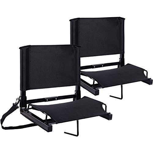 Stadium Seats Ohuhu Bleacher Chairs Seat with Backs and Cushion, Folding & Portable, Bonus Shoulder Straps, 2 ()