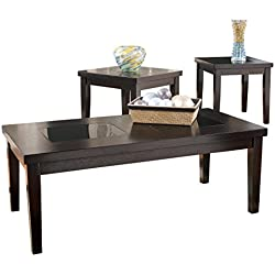 Ashley Furniture Signature Design - Denja Occasional Table Set - Contains Cocktail Table & 2 End Tables - Contemporary - Dark Brown