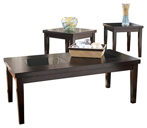 - Ashley Furniture Signature Design - Denja Occasional Table Set - Contains Cocktail Table & 2 End Tables - Contemporary - Dark Brown