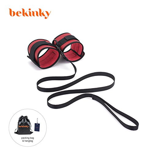 Bekinky Soft PU Leather Handcuffs Adjustable Ankle or Wrist Cuffs for Women Men (red, 6.69)