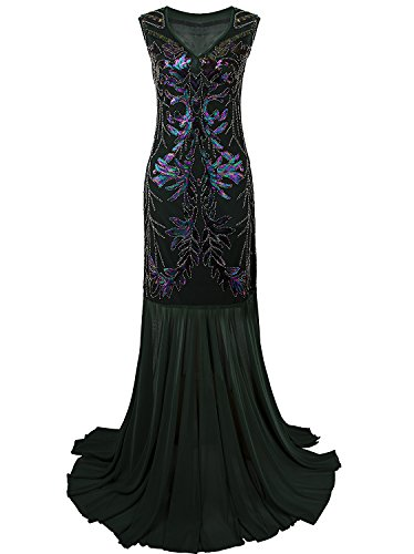 m Dresses V Neck Beaded Sequin Gatsby Maxi Evening Dress, Green, XX-Large (Beaded Dresses Plus Size)