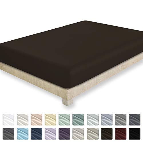 400 Thread Count Twin Size Chocolate Brown 100% Cotton Fitted Sheet - 1 Pc Bottom Fitted Sheet Only, Long Staple Combed Pure Natural Cotton Bedsheet, Stain Resistant, Soft & Silky - Fitted Chocolate Sheet