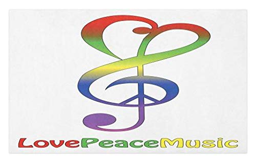 Lunarable 1960s Doormat, Love Peace Music Clef Musical Notes Bass Old Sign Slogan Live Feeling Celebration, Decorative Polyester Floor Mat Non-Skid Backing, 30 W X 18 L inches, Multicolor