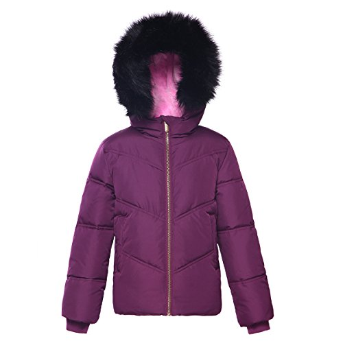 Jacket Puffer Girls Hooded (Rokka&Rolla Girls' Heavy Padded Water-Resistant Hooded Thickened Quilted Puffer Jacket)