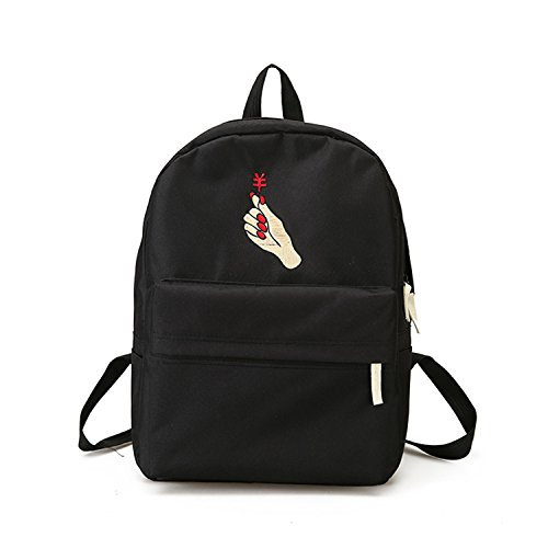 NeiNei Men Heart Canvas Backpack Cute Women Rose Embroidery Backpacks for Teenagers Women's Travel Bags Mochilas Rucksack School Bags Black money - Men Tumblr Nylon