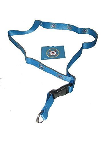 - USCG US Coast Guard Emblem Blue Printed Lanyard with Detachable Key Ring 32