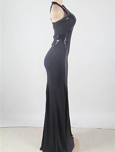 Neue Damen Schwarz Pailletten Abendkleid langes Kleid Cruise Ball Cocktail tragen Kleid Größe XL UK 14