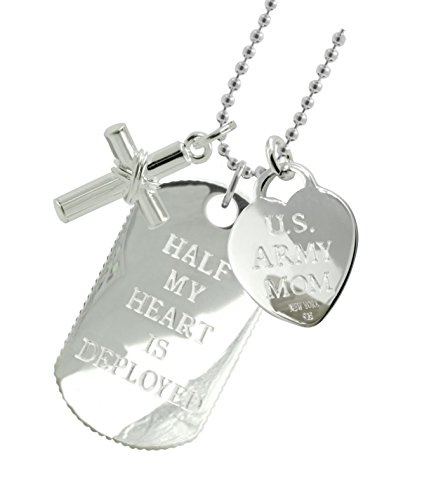 Solid Sterling Silver Army Mom Dog Tag CX by New York 925 & Co.