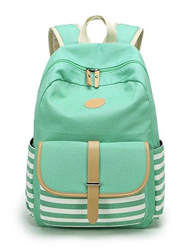 Leaper Cute Thickened Canvas School Backpack Laptop Bag Shoulder Daypack Handbag (L,Water Blue)