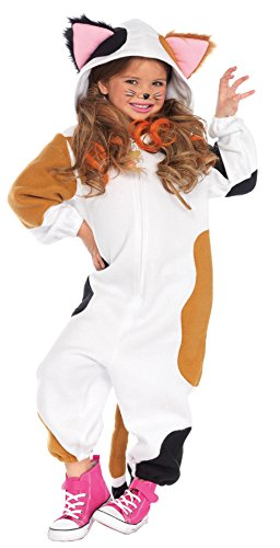 [UHC Girl's Calico Cat Kigarumi Funsie Outfit Fancy Dress Halloweem Costume, S/M (4-8)] (Baby Girl Marvel Costumes)