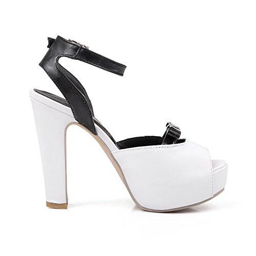 AmoonyFashion Womens Pu Assorted Color Buckle Peep Toe High Heels Sandals White y7gSbC