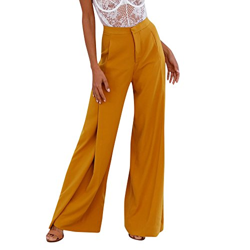 FarJing Pants for Womens Women OL Loose Stretch High Waist Wide Leg Long Pants Palazzo Trousers(XL,Yellow