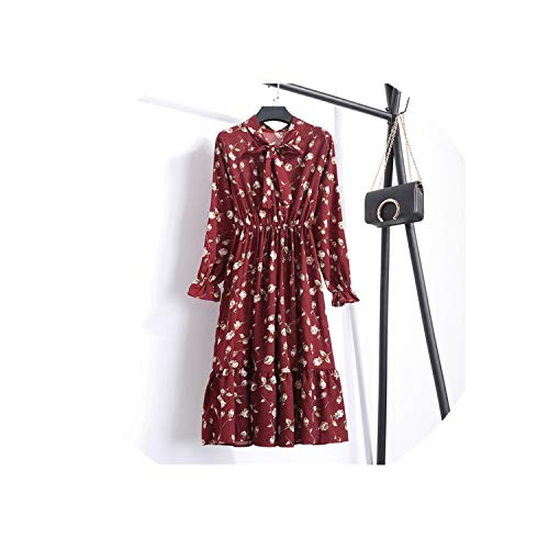 (Chiffon Print Dress Casual Cute Floral Bowknot Vestido S-XL Size,7,L)