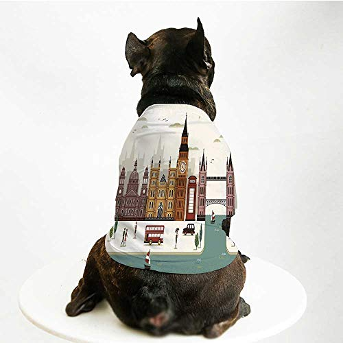 (YOLIYANA London Cute Pet Suit,Attractive Travel Scenery Famous City England Big Ben Telephone Booth Westminster for Small Medium Large Size Dogs Cats,S)