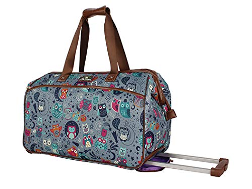 Lily Bloom Luggage Designer Pattern Suitcase Wheeled Duffel Carry On Bag (14in, Night Owl) ()