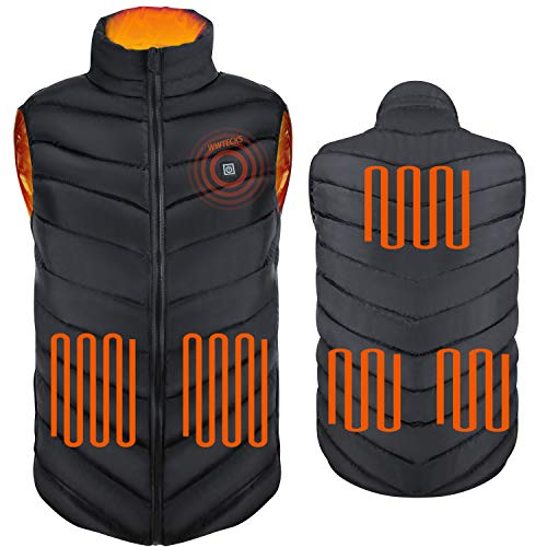 WWTECKS Electric Heating Vest Heated Jacket Clothes 5pcs Powerful Rapid Heating Large Heating Panels,3 Levels…