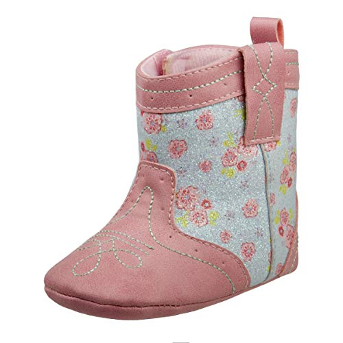 Laura Ashley Baby Girls Soft Bottom Western Cowboy Boot, Pink/Blue, 4 M US Toddler -
