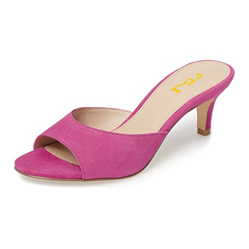 FSJ Women Comfort Low Heel Mules Peep Toe Suede Sandals Slip On Dress Pump Shoes Size 10 Fuchsia-6cm (Mule Kitten)