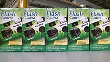 Disposable Black Camera White - Fujifilm QuickSnap 400 Speed Single Use Camera with Flash (5-Pack)