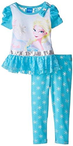 887847679107 - Disney Girls' Frozen 2-Piece Legging Set, Elsa Blue, 2T carousel main 0