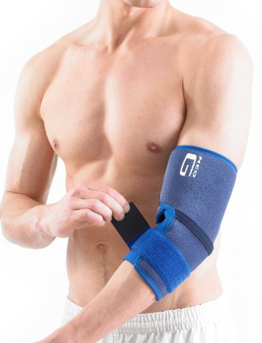 Neo G Elbow Support - For Epicondylitis, Tennis Golfers Elbow, Sprains, Strain Injuries, Tendonitis, Arthritis, Recovery, Sports - Adjustable Compression - Class 1 Medical Device - One Size - Blue by Neo-G (Image #1)