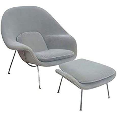 FineMod FMI1134 Gray Woom Chair And Ottoman Gray