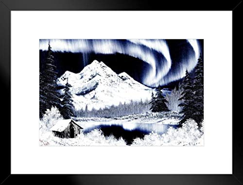 Poster Foundry Bob Ross Northern Lights Art Print Painting Matted Framed Wall Art 20x26 inch - Light Matted Print
