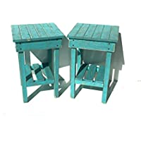 Distressed Night Stand Set /Turquoise Distressed End Table Set /Bed Side Tables/Rustic Table/Farmhouse Side Table/Vintage/Wooden Table