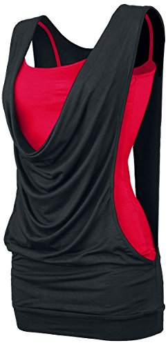 Forplay Open Double Layer Top donna nero/rosso XXL