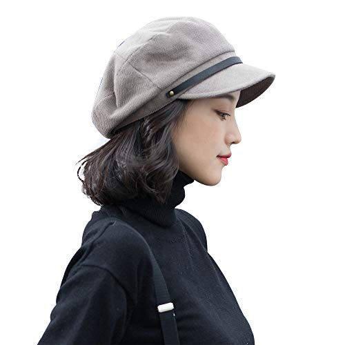 677888 Newsboy Hat for Women Beret Flat Top Hat Female Autumn and Winter Fashion Simple Adjustable Breathable by 677888
