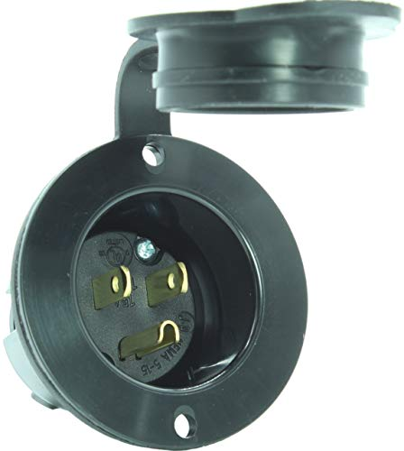 (Journeyman-Pro 5278 15 Amp 125 Volt, Flanged Inlet, Black Commercial Grade, 2 Pole-3 Wire, Straight Blade, Nema 5-15 (With Cover/Cap))