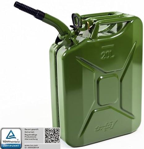 Oxid7/Bidon /à essence en m/étal en m/étal Bidon en m/étal 20/l 20/l/ /Bec verseur/ /Avec Certification un et certifi/é T/ÜV Rh/énanie bauart/ /kanisterh