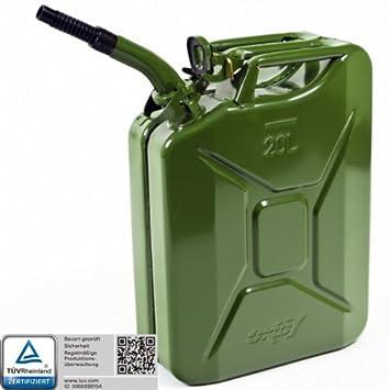 Top Oxid7® Benzinkanister Kraftstoffkanister Metall 20 Liter Olivgrün  CL03