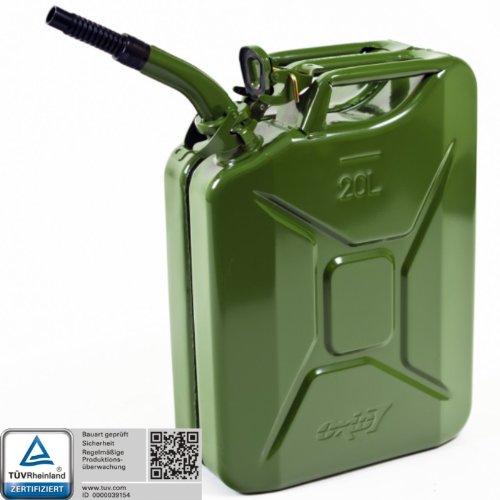 Oxid7® Benzinkanister Kraftstoffkanister Metall 20 Liter Olivgrün inkl. Ausgießer mit UN-Zulassung - TÜV Rheinland Zertifiziert - Bauart geprüft - für Benzin und Diesel 4052704056544