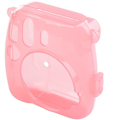 Camera Case Cover for Fujifilm Instax Mini 9/8/8+, PVC Transparent Crystal Protective Camera Case for Fujifilm Instax Mini 9/8/8s Instant Film Camera with Cute Adjustable Strap (Pink 2)