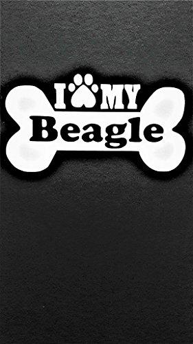 Chase Grace Studio I Love My Beagle Dogs Vinyl Decal Sticker|White|Cars Trucks Vans SUV Laptops Wall Art|5.5
