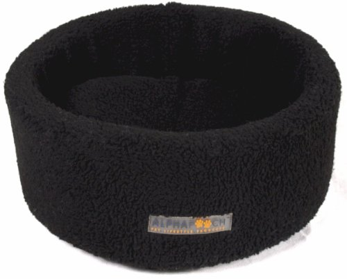 AlphaPooch Siesta Round Fleece Cat Bed, Black, Medium