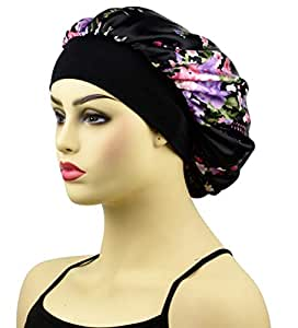 Satin Sleep Cap Bonnet for Women, Wide Band Satin Sleeping Caps Night Hat Head Cover for Natural Hair Loss, Black Floral