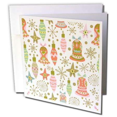 3dRose Anne Marie Baugh - Christmas - Cute Fiesta Christmas Ornaments Pattern - 1 Greeting Card with Envelope (gc_289300_5)