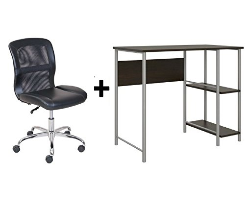 Mainstays Basic Student Espresso Desk, Bundle Set with Black/Silver Vinyl Chair