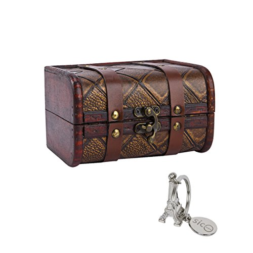 SiCoHome Small Trunk Box Vintage Jewelry Storage Organizer Wooden Case Treasure Chest/Decorative Box (5.9 inch,Lattice)