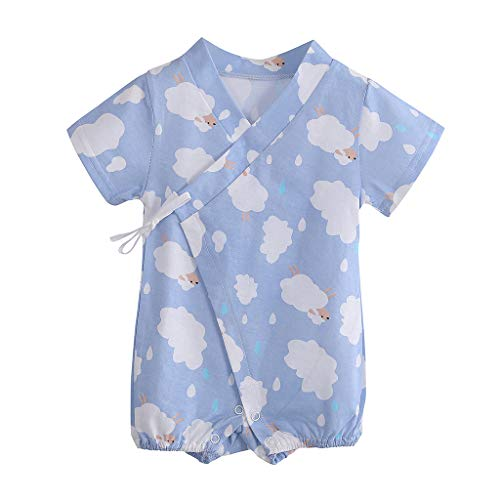 iZZZHH Infant Baby Boy Girl Short Sleeve Cartoon Romper Jumpsuit Kimono Clothes,0-12M Light Blue