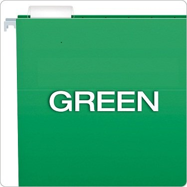 Essentials Hanging Folders, Letter Size, Green, 25 per Box