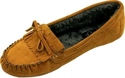 82a887096fb516 Refresh Nina Woman s Comfort flat Suede Loafer Fleece Oxford bottom soft  sole moccasins