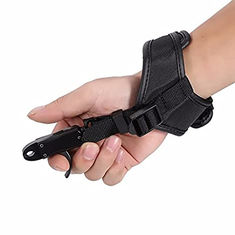 Adult Compound Bow Caliper Release Shooting Trigger with Buckle Wrist Strap
